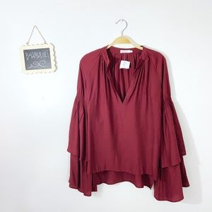 [Skylar + Madison] Maroon Boho Bell Sleeve Blouse